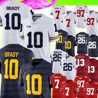 Wholesale Michigan Wolverines Tom Brady Jersey Mens Blue White College Football Jerseys Dwayne Haskins Jr Tua Tagovailoa