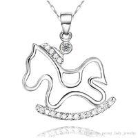 klasik gümüş at kolye toptan satış-925 damgalı kadın gümüş öğeler kristal takı at midilli kolye bildirimi kolye vintage charms ücretsiz kargo