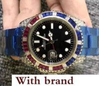 bracelets de diamant bleu achat en gros de-Luxe Pour Les Hommes Montre Mécanique Rouge Bleu Diamants Lunette Face En Acier Inoxydable Bracelet Date Business Mens Montre Automatique