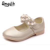 Wholesale children sneaker flower for sale - Group buy Smgslib Brand Girls Shoes Fashion Princess Flat Shoes Children Sneaker Pu Leather Flower School Girls Dress Size