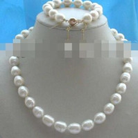 Wholesale 14mm copper beads for sale - Group buy Women s Wedding charm for women bead anime silver Natural mm Rice Pearl Necklace Bracelet Earrings set real silver jewelry