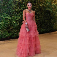 Wholesale classic sweetheart neckline resale online - Stylish Water Melon Tiered Prom Dresses Sweetheart Neckline Formal Dress A Line Floor Length Tulle Pleated Evening Gowns