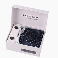 marineblau krawatte großhandel-Neue Männer Krawatten Geometrische Größe 145cm * 8cm Krawatte marineblau Paisley Silk Jacquard Woven Krawatte Anzug eingestellt