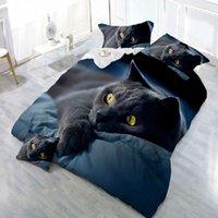 ingrosso gatto piumone-Set copripiumino, stampa 3D Black Cat Set biancheria da letto confortevole Copriletto Set copripiumini Lino