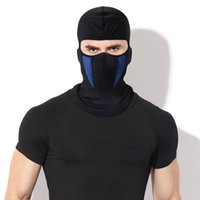 spor kayak maskeleri toptan satış-Black Winter Fleece Balaclava Full Face Mask Thermal Warmer Cycling Hood Liner Sports Ski Bike Riding Snowboard Shield Hat Cap