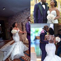 Wholesale coral bead online - 2019 African Sexy Design Mermaid Wedding Dresses Appliques Beading Sweetheart Bridal Gowns African robe de mariee