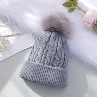 Wholesale white crochet hats resale online - Thread Pom Pom Beanie Colors Winter Warm Crochet Beanie Cap Knit Skull Hat Girls Hats OOA7420