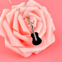 Wholesale fashion guitar pendant for sale - Group buy Fashion Black Acrylic Music Guitar Pendant Necklace Silver Color Chain For Women Party Jewelry Gifts XL287 SSH