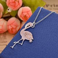 elmas şekilli kristaller toptan satış-Moda kolye seti pembe beyaz kristal elmas flamingo şekli kolye kadın zarif ve cömert kişilik toptan