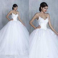Wholesale plus sized ball gowns for sale - Group buy Tony Chaaya Ball Gown Puffy Wedding Dresses Appliques Corset Sweetheart Lace Tulle Bridal Gowns Princess Plus Size Bride Wedding Gown