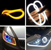 Wholesale headlight amber resale online - Car cm Flexible Flowing Car DRL Running Turn Signal angel eye White Amber LED Daytime Running Light Headlight Strip led pair