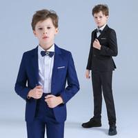 niños pequeños se adapta a los trajes de etiqueta al por mayor-Nuevos trajes de los muchachos de los smokinges para las bodas Ocasiones formales del muchacho Pequeños trajes de los muchachos Niños Ropa formal del banquete de boda del muchacho (chaqueta + pantalones + chaleco)