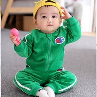 Wholesale baby soft jacket for sale - Group buy Champion Kids Tracksuits Designer Clothing Baby Boys Girls Flannel Suits Soft Jacket Pants Two Pieces Outfits Children Sportswear B81901