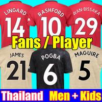 kits de ventilador venda por atacado-Tailândia 18 19 20 manchester united camisas de futebol MAN utd 2019 2020 marcial RASHFORD POGBA LINGARD kit de futebol MARCIAL camisa FRED camisa