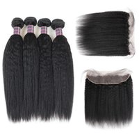 Wholesale human hair bundles 4pcs for sale - Group buy Peruvian Brazilian Malaysian Yaki Straight Human Hair Bundles With Lace Frontal Ishow Unprocessed Virgin Hair Extensions