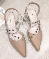 Wholesale transparent fashion shoes for sale - 2019 summer pointed shoes punk studded sandals ladies Europe and America sexy transparent belt buckle women s shoes