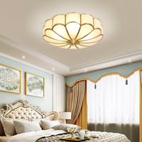 plafones dormitorio vintage al por mayor-Vintage techo llevado enciende la iluminación de techo lámparas de techo elegante creativo de la flor de cobre de lujo para la sala de estar del dormitorio del hotel pasillo pasillo