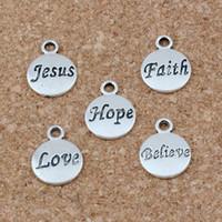 Wholesale antique bracelet love for sale - Hope Believe Love Faith Jesus Charms Pendants x15 mm Antique Silver Fashion Jewelry DIY Fit Bracelets Necklace Earrings A