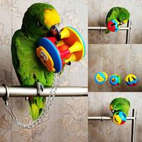 campainha de brinquedos venda por atacado-Bonito Pet Pássaro De Plástico Chew Bola Cadeia De Brinquedo Gaiola para Parrot Cockatiel Periquito Pet Papagaio Pássaro Brinquedo Oco Bell Bola Drop Shipping
