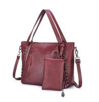 ingrosso borse rosse grandi-2 pezzi ribattini borse in composito rosso borse da donna e borsa set doppie cerniere spalla grande capacità borse da donna borse a tracolla