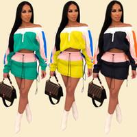 солнцезащитные толстовки оптовых-Color Match Women Summer Sunscreen Спортивный костюм Солнцезащитные наряды с длинным рукавом с капюшоном Топ с коротким платьем 2 шт. Спортивная одежда A3252