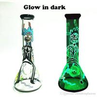 en kalın cam boğalar toptan satış-Karanlık Cam Glow su bong en çok satan 7mm kalın beher bong kase ve downsteam ile satılık
