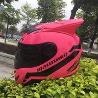 cascos integrales de motocross al por mayor-MALUSHEN Casco de motocicleta mujer niño equipo de motocross proteger Casco de gato Personalidad de cara completa Motor casco con gafas 002