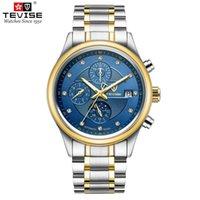 господа часы оптовых-TEVISE Классические мужские часы Механические наручные часы Moon Phase Из нержавеющей стали Джентльменские часы Fashion Man Clock