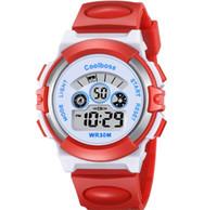 dijital saatli ışıklı toptan satış-Moda coolboss erkek erkekler çocuk çocuklar erkek kız spor led dijital İzle elektronik İşlevli Işık hediye parti öğrencileri saatler