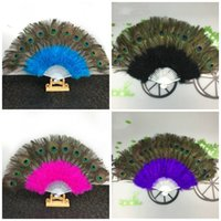 Peacock Feather Fan Dancing Performance Mulit Color 21 Bones Pointed Tail Folding Belly Dance Hand Fans Party Decoration 23jse1