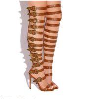 высокие сандалии сапоги оптовых-Abesire женщина сексуальная пряжки украшенные вырезы Гладиатор сандалии сапоги девушки Peep Toe Over-the-knee сапоги женские высокие каблуки