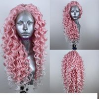 Wholesale celebrity wig resale online - Long deep wave Pink wigs celebrity Women cosplay style lace frontal Heat Resistant Synthetic Lace Front wigss Curly wigs natural hairline