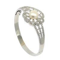 Wholesale pearl bracelets online - Fashion female pearl jewelry DIY pearl bracelet copper empty bracket set with diamond can open bracelet