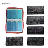 Wholesale leather stamp sets resale online - 12pcs Set Daisy Floral Design Nail Art Stamping Image Plate Slots Nail Stamping Plates Synthetic Leather Holder Case