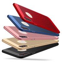 red de malla iphone al por mayor-Cobertura de malla cubierta mate de la caja de la disipación de calor de emisiones de plástico neto mate Red Dot Hollow completa para el iPhone 11 Pro Max XS XR X 8 7 6 6S Plus