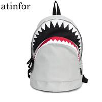 sacos de escola frescos da forma venda por atacado-Cool Book Bag Grande Tubarão Dos Desenhos Animados Mochila Preta Mochilas Moda Escola Primária Mochilas Meninos Mochila Bagpack Y19051701