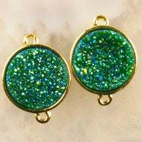 grüne achat runde perle groihandel-2 Stücke grün Titan Kristall Achat Druzy Quarz Geode Runde Anhänger Perle
