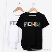 top frisado l venda por atacado-Nova Moda das mulheres Designer de t-shirt Top-qualidade Camisas Casuais t Tripulação Pescoço de Manga Curta bordado Frisada t Camisas branco estilo conciso