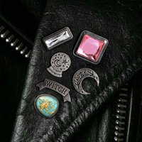 Wholesale witches balls for sale - European New Pattern Witch Crystal Ball Moon Enamel Pin Buckle Badge Restore Ancient Ways Alloy Originality Oil Dripping Brooch
