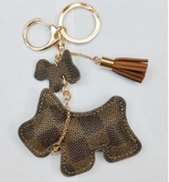 sevimli araba anahtarları toptan satış-Moda sevimli çanta pu köpek anahtarlık araba anahtarı aksesuarları çanta aksesuarları için kullanılabilir anahtarlık çanta çekicilik