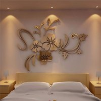 calcomanías florales de pared pegatinas al por mayor-Espejo 3D Arte Floral Extraíble Etiqueta de La Pared de Acrílico Mural Decal Home Room Decor Hogar Lindo Arte de La Pared Decoración
