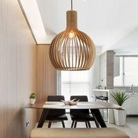 rote blasenlampen großhandel-Moderne Holz Birdcage Lampe Nordic Holz Hängelampe Home Deco Wohnzimmer Esszimmer Pendelleuchte Leuchte