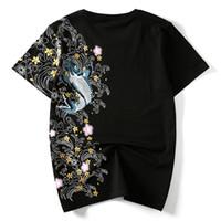 japon pamuklu giysiler toptan satış-Hzijue Erkekler T Shirt Nakış Balık Üst Marka Giyim çin Japon Tarzı T-Shirt Man Tees Streetwear Pamuk Artı Boyutu Için SH190703