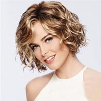 черный белый микс парик оптовых-Короткие парики из синтетической Mix Браун Блондинки Hand Made Lace Top парик высокой температура волоконной фигурных парики черных / белых женщин