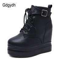 Wholesale sexy girls snow boots resale online - Gdgydh Lace Up Boots Heels Platform Wedges Ankle Boots For Women Gothic Leather Autumn Shoes Girl Boots Sexy Rivet With Zipper