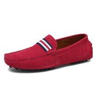 ingrosso mocassin uomini scarpe mocassini-Mocassini uomo in pelle scamosciata Driving Shoes in vera pelle Mocassino Chaussure Homme rosso scarpe casual