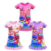 bebek gece kıyafetleri toptan satış-Kızlar Bebek Köpekbalığı Elbise Çocuklar Sevimli Karikatür Shark Baskı Kısa Kollu Pijama Elbiseler Yaz Etek Gece Giysileri Ev Giyim CCA11234 20 adet