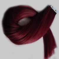 99j schusshaarverlängerung großhandel-Grade 7a unverarbeitetes malaysisches glattes Haar # 99J Rotwein-Band in Haarverlängerungen mit PU-Haut Einschussband in Remy-Haarverlängerungen 100g