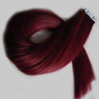 ingrosso i capelli malesi di grado 7a-grado 7a capelli lisci malesi non trasformati # 99J nastro rosso vino in estensioni dei capelli umani nastro di trama in pelle PU estensioni dei capelli remy 100g
