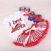 Wholesale i love rompers for sale - Group buy 4TH OF JULY I LOVE AMERICAN LETTER PRINT INFANT TUTU DRESS COTTON ROMPERS WAKING SHOES HEADBAND SET